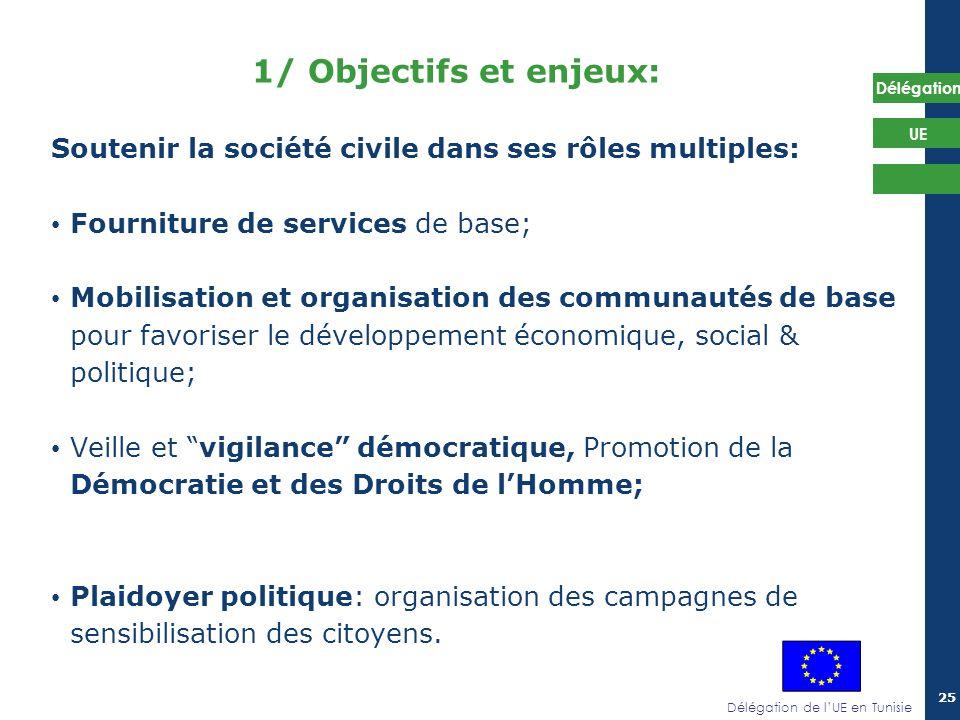 1/ Objectifs et enjeux: Soutenir la société civile dans ses rôles multiples: Fourniture de services de base;