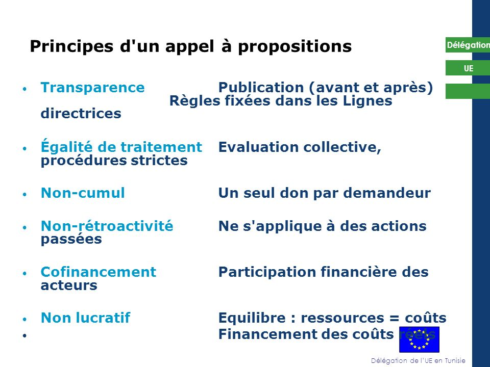 Principes d un appel à propositions