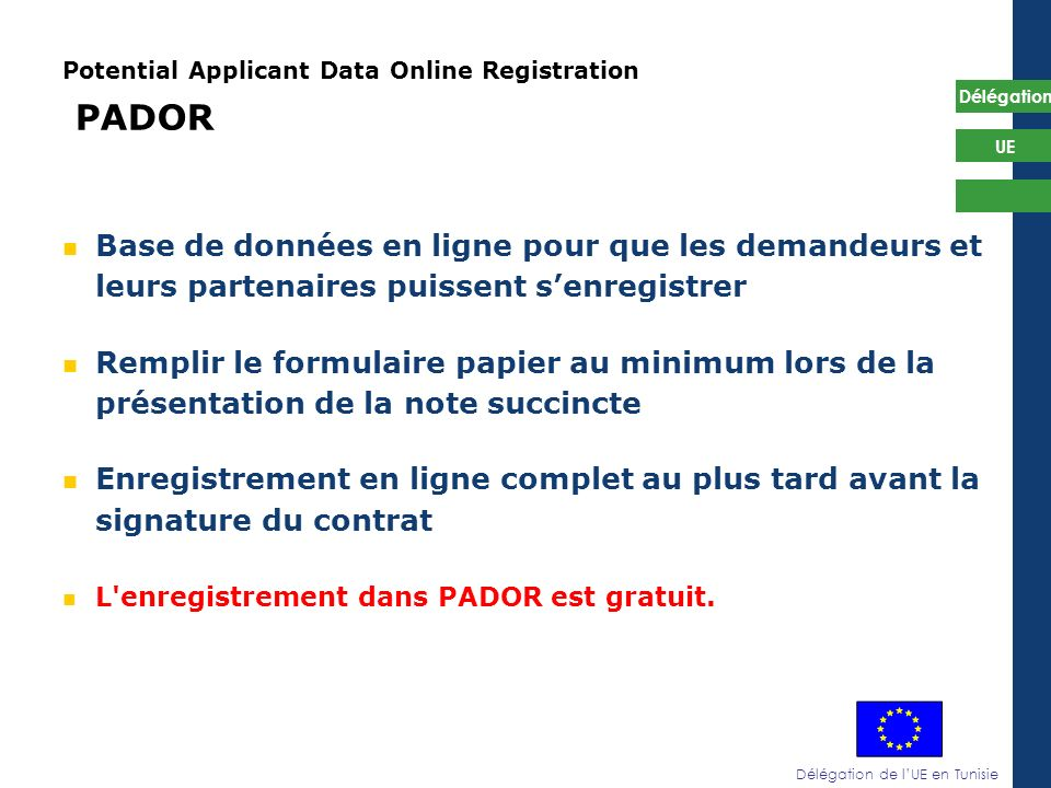 Potential Applicant Data Online Registration PADOR
