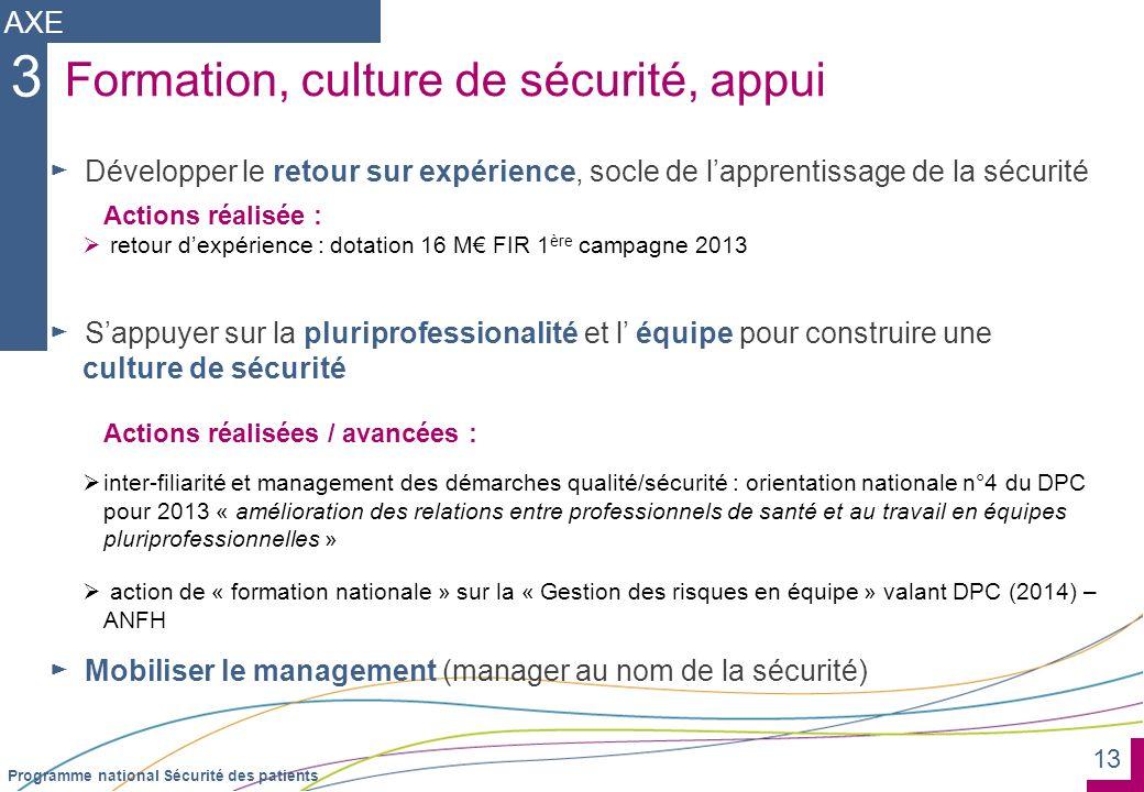 3 Formation, culture de sécurité, appui AXE