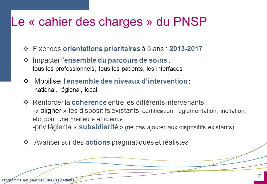Le « cahier des charges » du PNSP