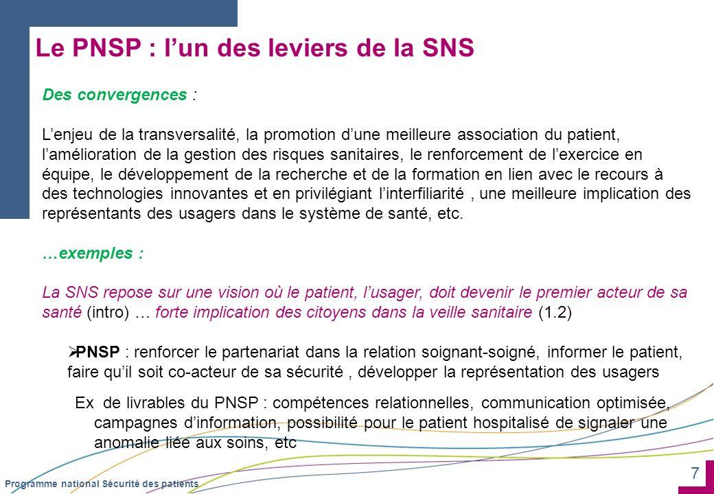 Le PNSP : l'un des leviers de la SNS