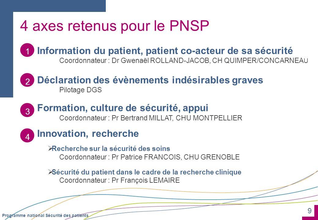 4 axes retenus pour le PNSP