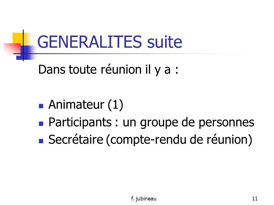 GENERALITES suite Dans toute réunion il y a : Animateur (1)
