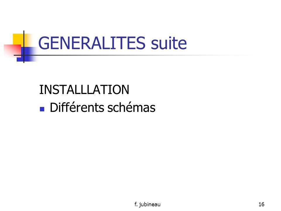 GENERALITES suite INSTALLLATION Différents schémas f. jubineau