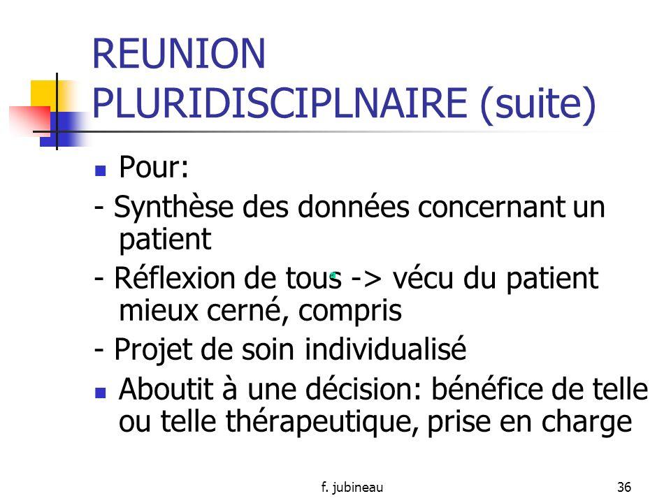 REUNION PLURIDISCIPLNAIRE (suite)