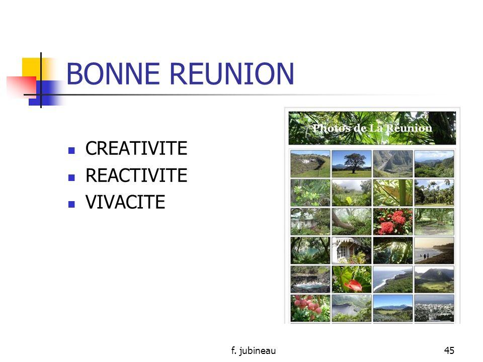BONNE REUNION CREATIVITE REACTIVITE VIVACITE f. jubineau