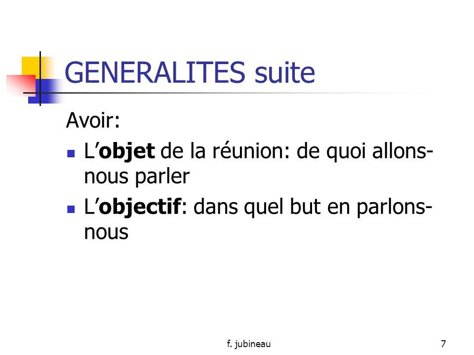 GENERALITES suite Avoir: