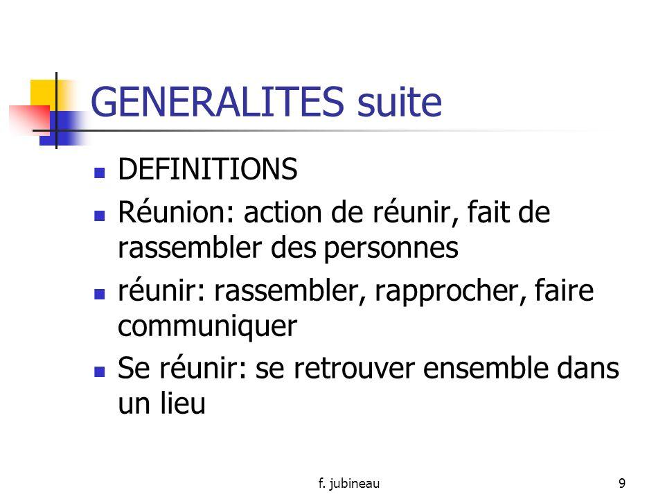 GENERALITES suite DEFINITIONS