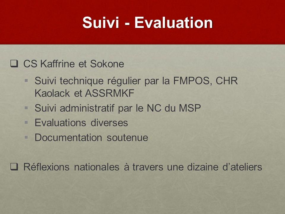 Suivi - Evaluation CS Kaffrine et Sokone