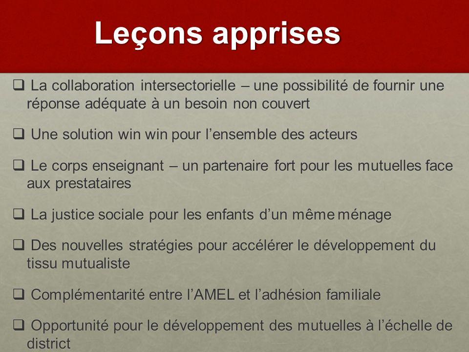 Leçons apprises La collaboration intersectorielle – une possibilité de fournir une réponse adéquate à un besoin non couvert.