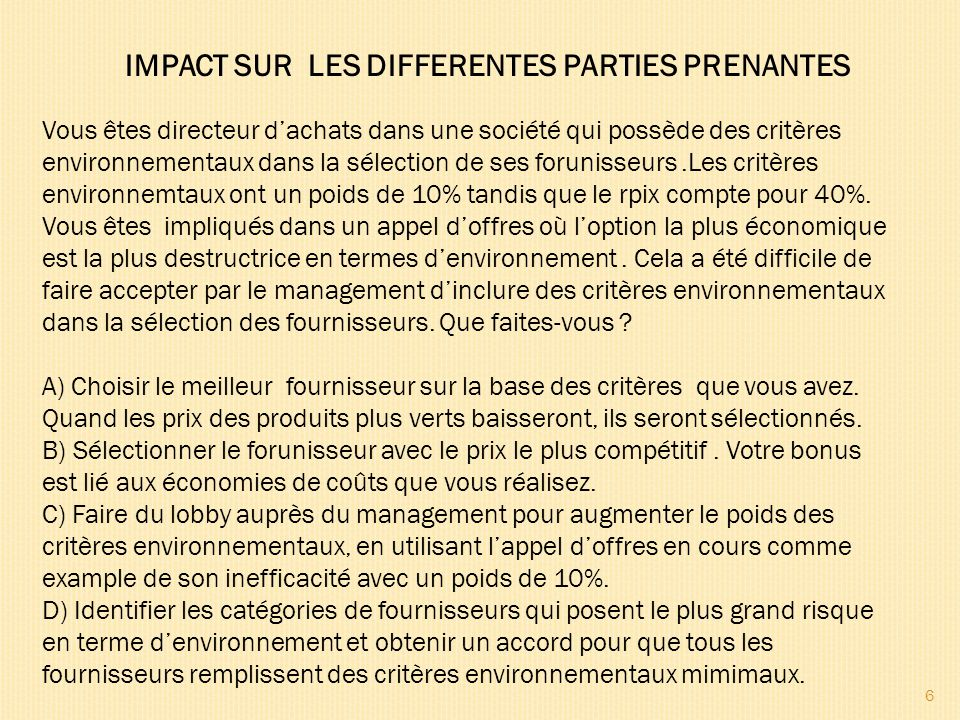 IMPACT SUR LES DIFFERENTES PARTIES PRENANTES