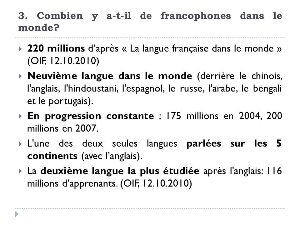 3. Combien y a-t-il de francophones dans le monde