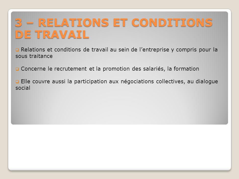 3 – RELATIONS ET CONDITIONS DE TRAVAIL