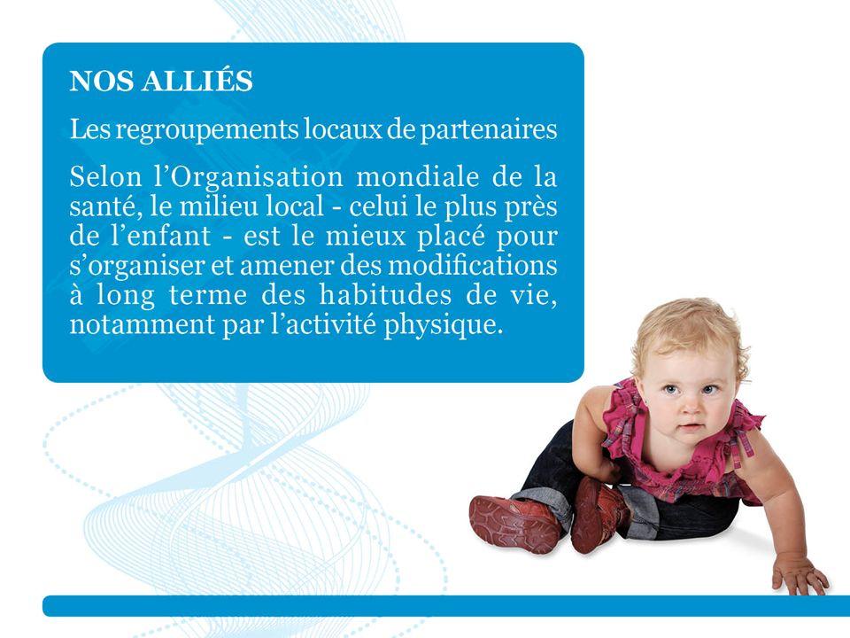 Québec en Forme soutient des regroupements locaux de partenaires et croit que les partenaires sont les mieux placés pour définir leur façon de travailler ensemble et également pour trouver et mettre en place des solutions durables permettant d'améliorer la qualité de vie des 0 à 17 ans. Enfin, ils sont responsables de l'affectation des ressources, tant humaines que financières.