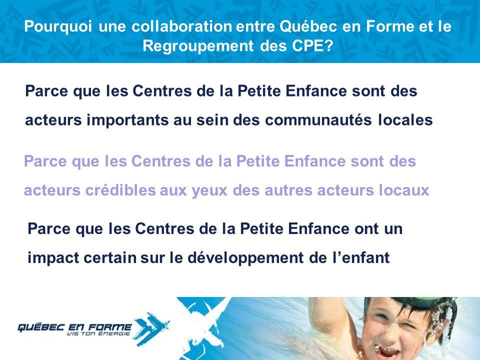 Pourquoi une collaboration entre Québec en Forme et le Regroupement des CPE
