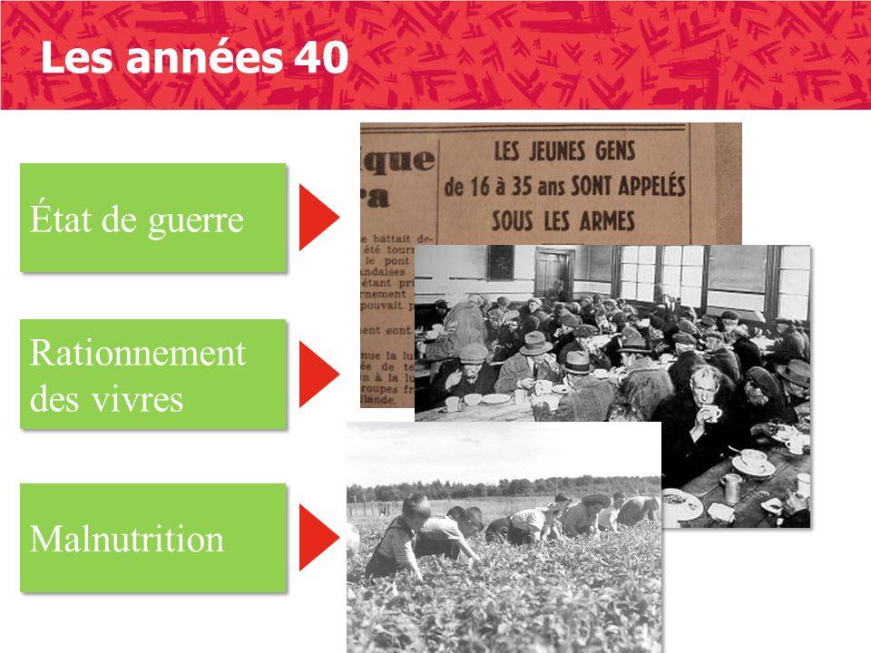 Les années 40 État de guerre Rationnement des vivres Malnutrition
