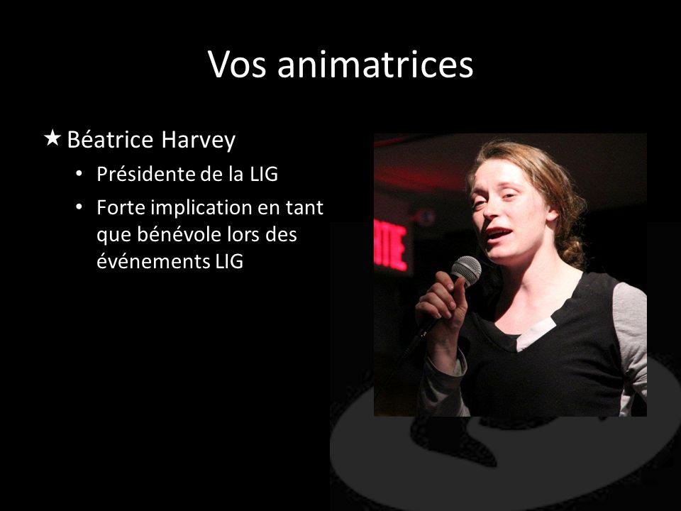 Vos animatrices Béatrice Harvey Présidente de la LIG