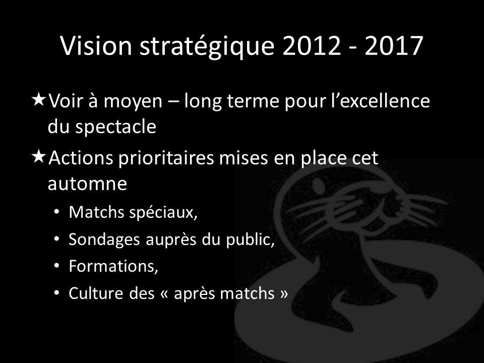 Vision stratégique 2012 - 2017 Voir à moyen – long terme pour l'excellence du spectacle. Actions prioritaires mises en place cet automne.