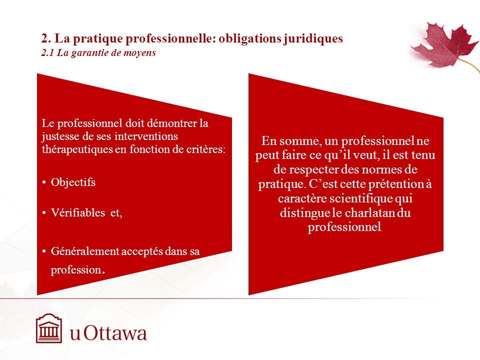 2. La pratique professionnelle: obligations juridiques 2