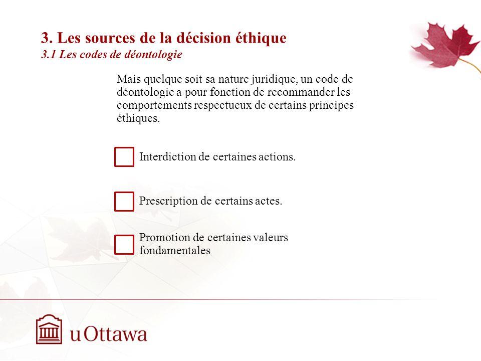 3. Les sources de la décision éthique 3.1 Les codes de déontologie