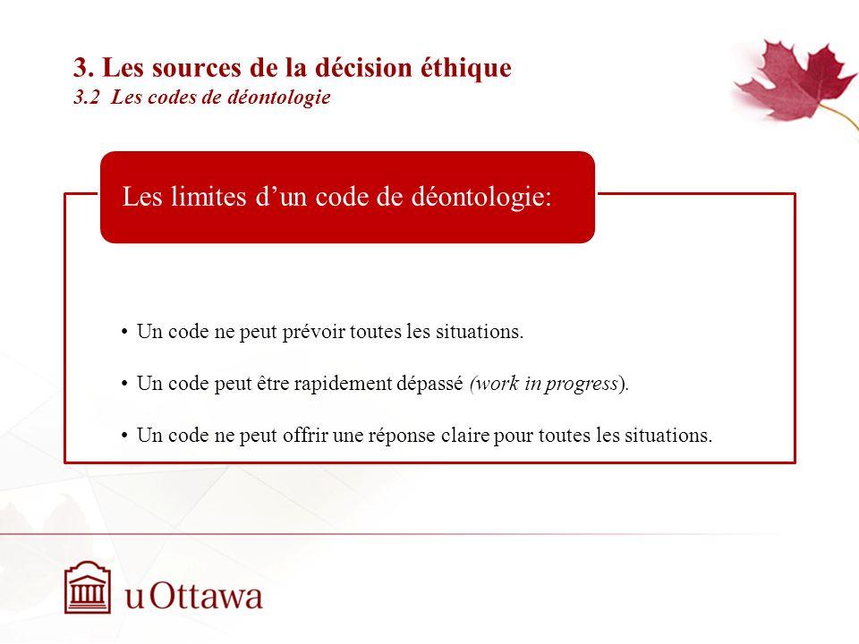 3. Les sources de la décision éthique 3.2 Les codes de déontologie