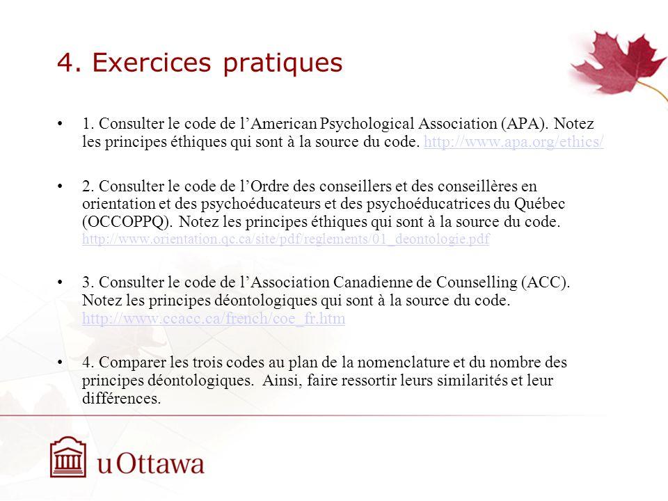4. Exercices pratiques