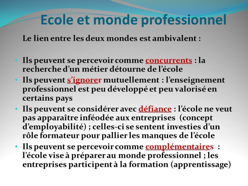 Ecole et monde professionnel