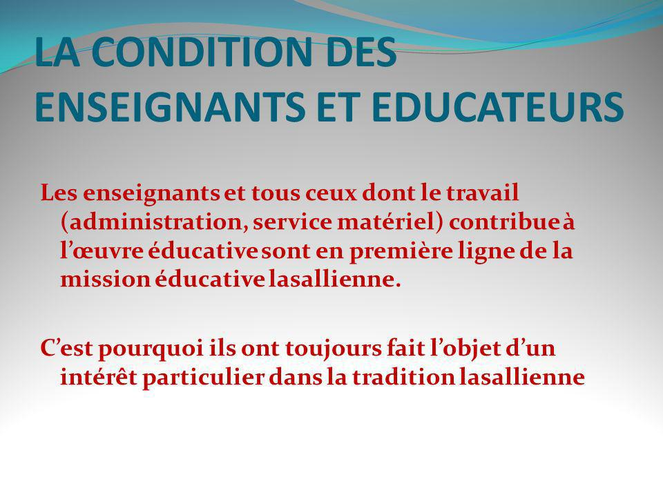 LA CONDITION DES ENSEIGNANTS ET EDUCATEURS