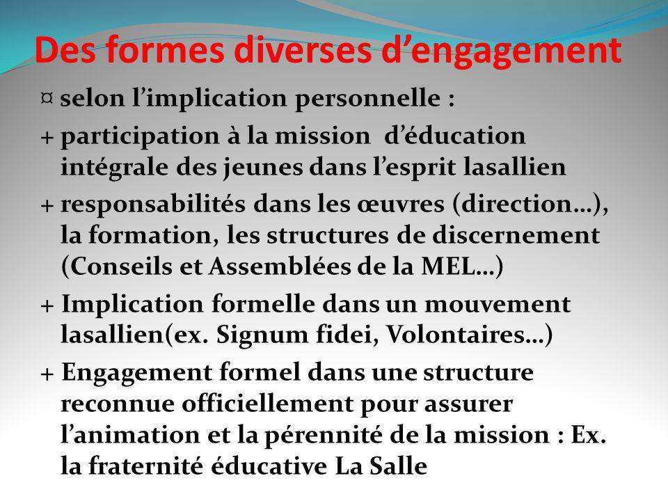 Des formes diverses d'engagement
