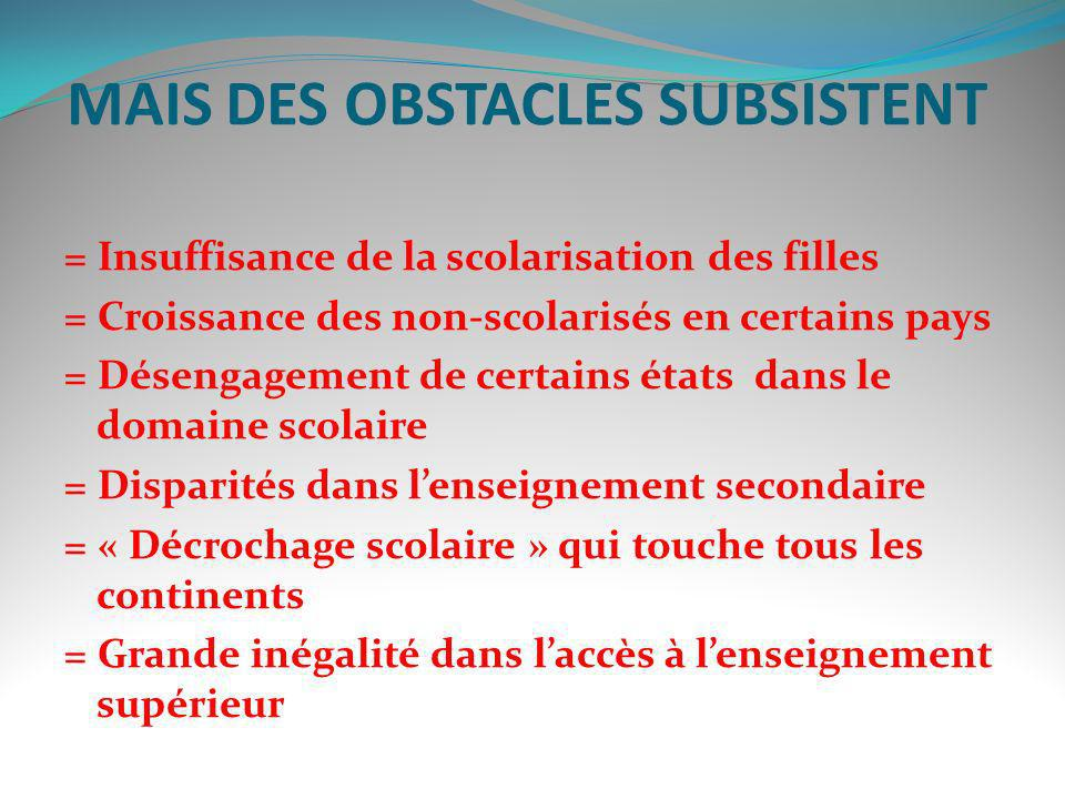 MAIS DES OBSTACLES SUBSISTENT