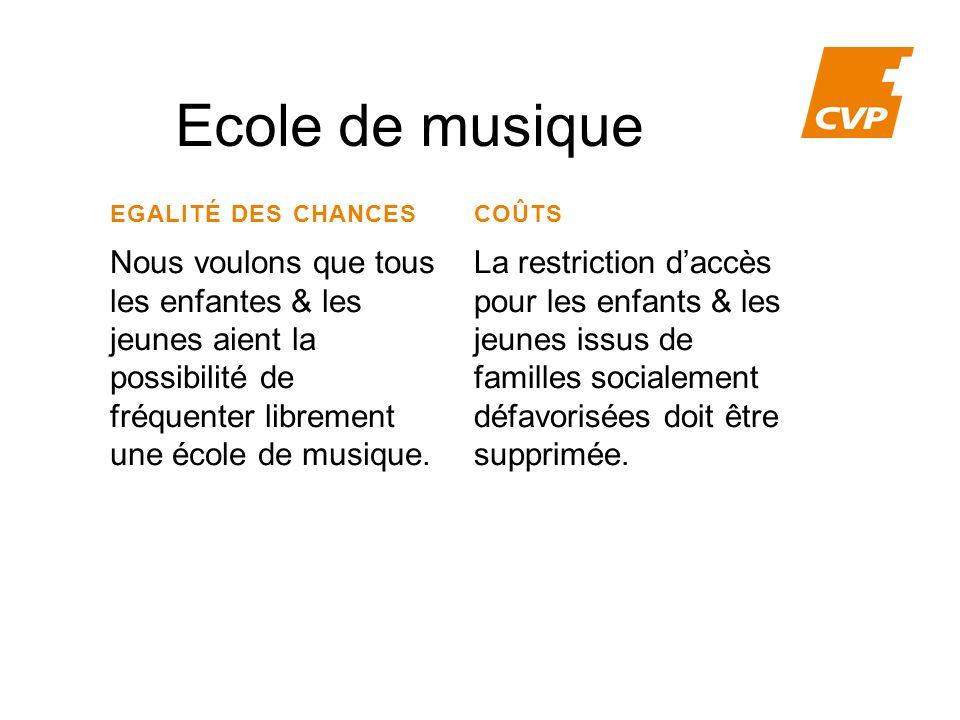 Ecole de musique EGALITÉ DES CHANCES. COÛTS.