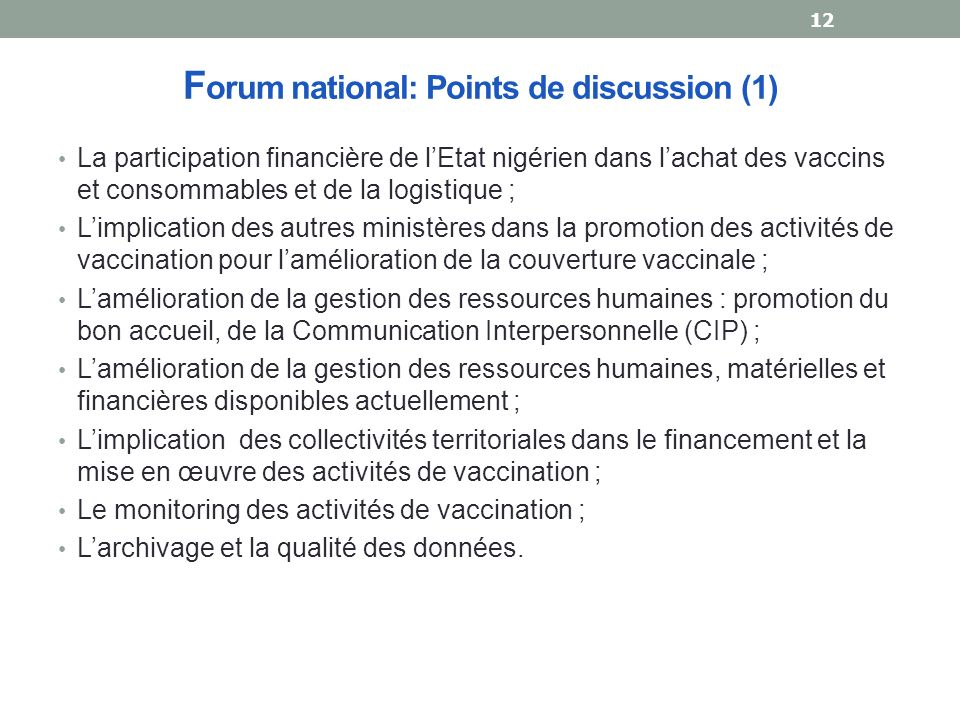 Forum national: Points de discussion (1)