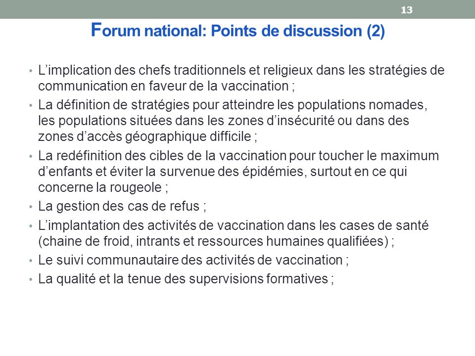 Forum national: Points de discussion (2)