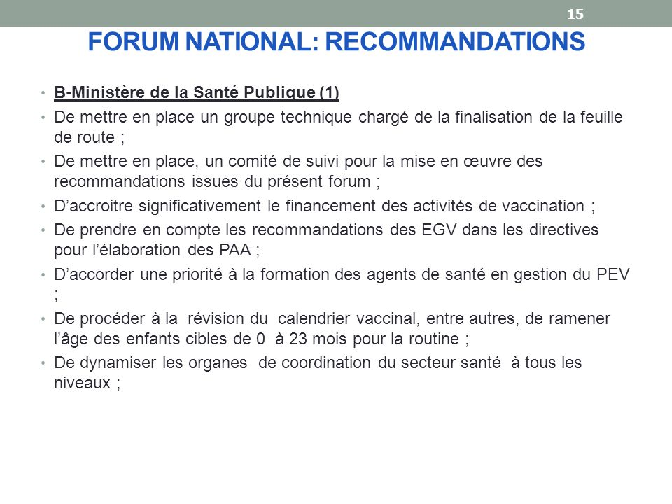 FORUM NATIONAL: RECOMMANDATIONS