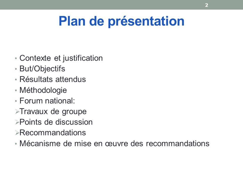 Plan de présentation Contexte et justification But/Objectifs