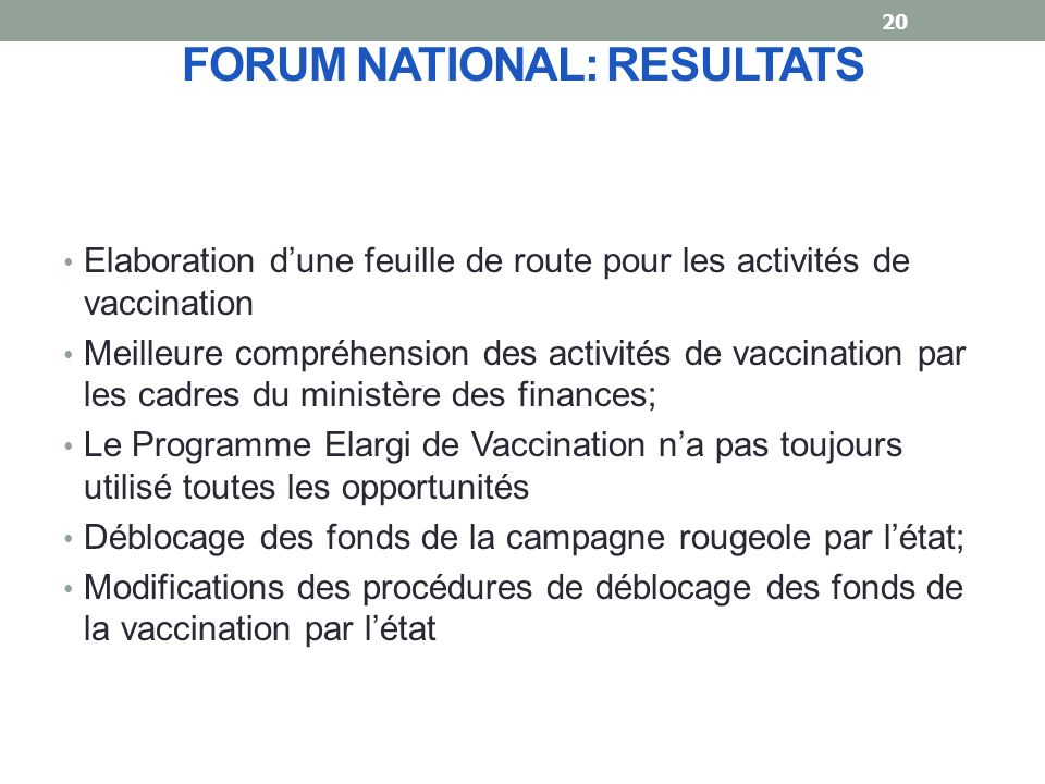 FORUM NATIONAL: RESULTATS
