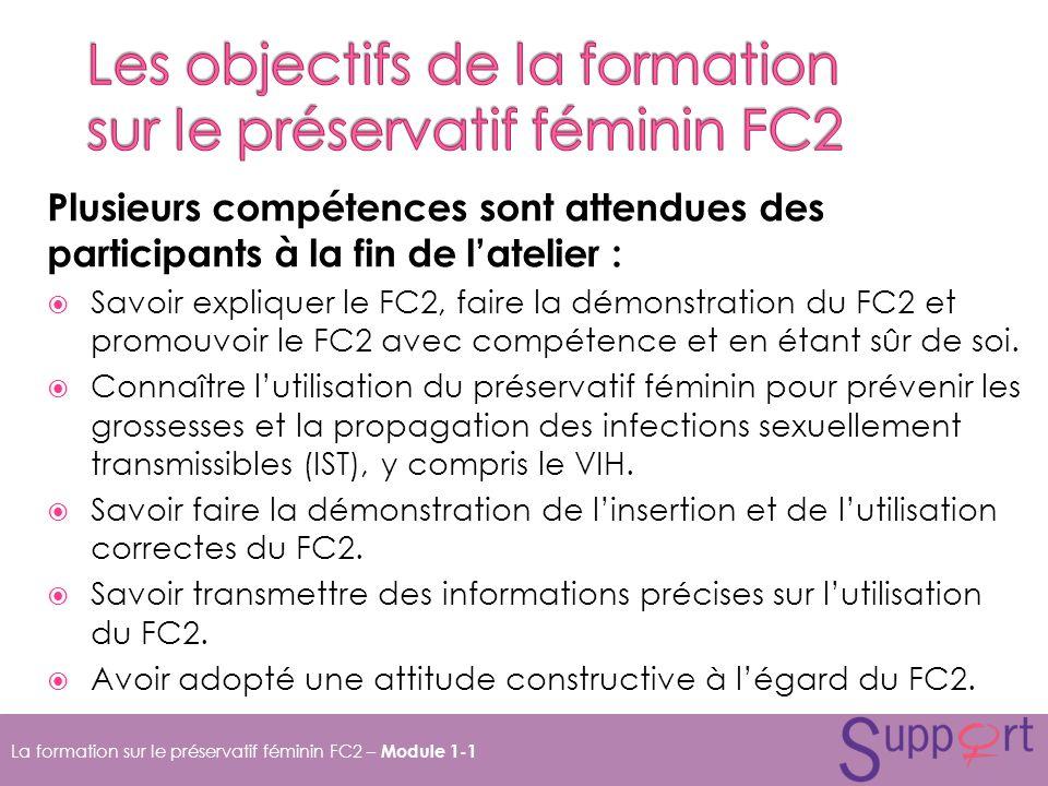 Les objectifs de la formation sur le préservatif féminin FC2