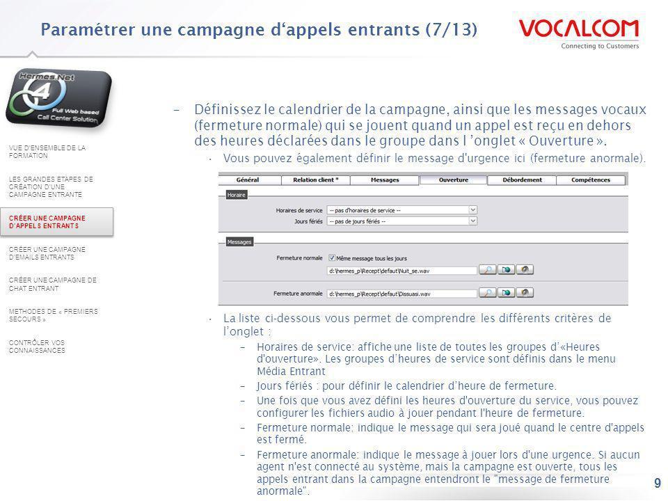 Paramétrer une campagne d'appels entrants (8/13)