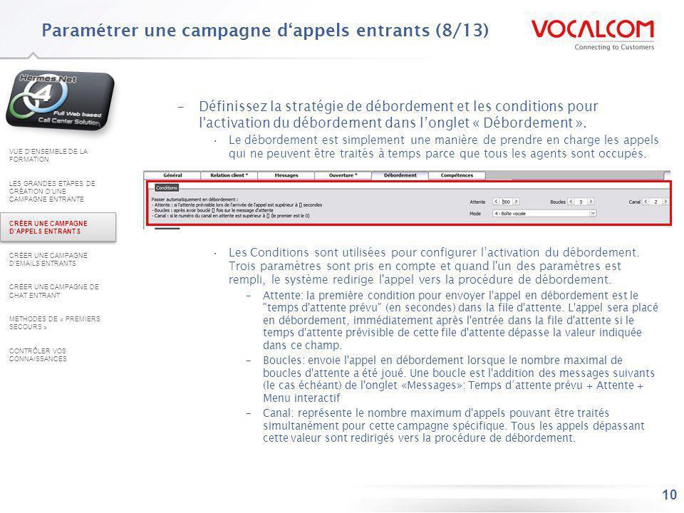 Paramétrer une campagne d'appels entrants (9/13)
