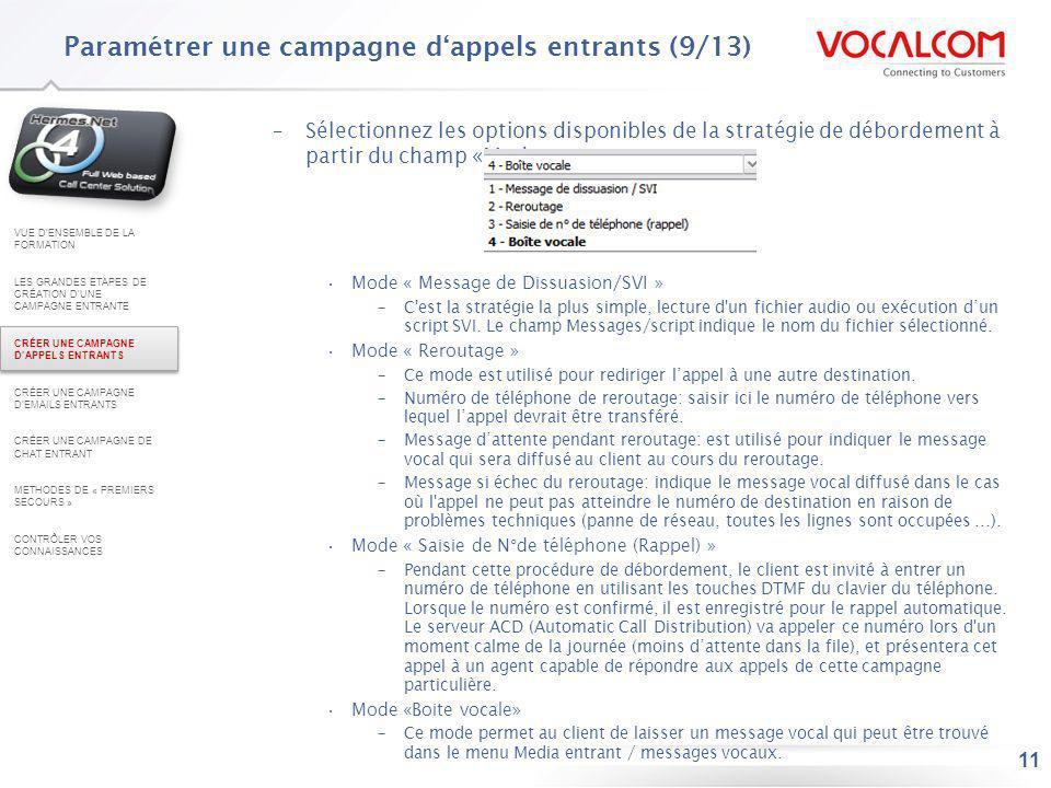 Paramétrer une campagne d'appels entrants (10/13)