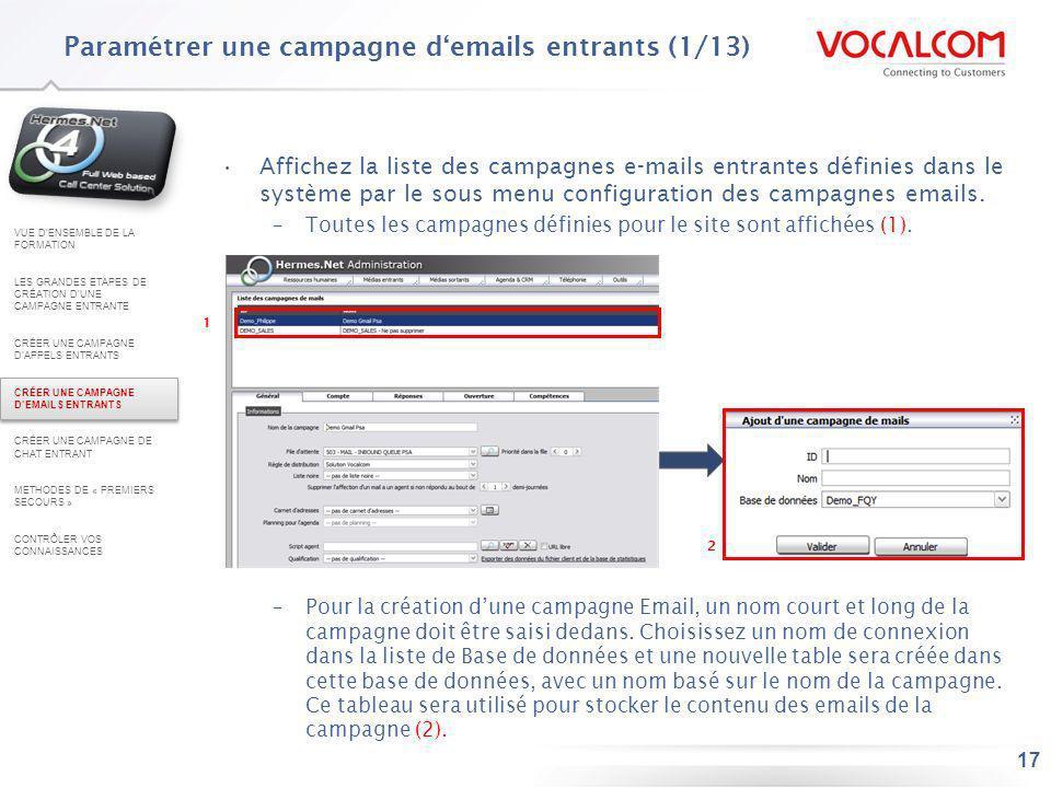 Paramétrer une campagne d'emails entrants (2/13)