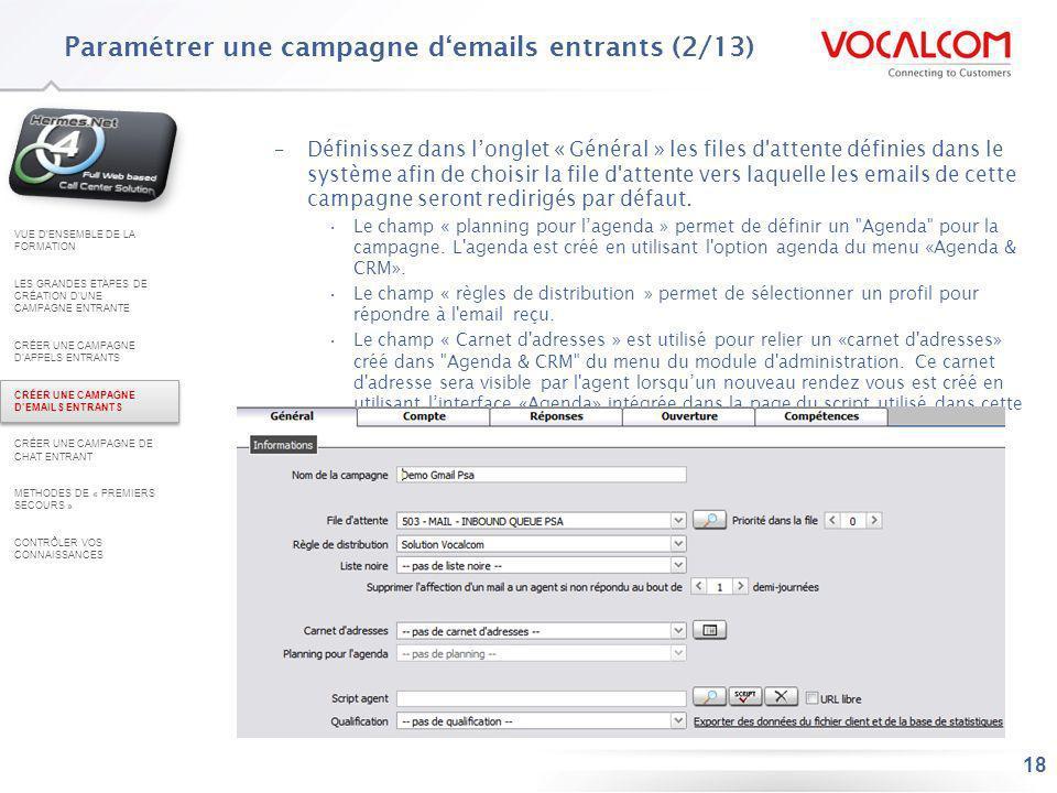 Paramétrer une campagne d'emails entrants (3/13)