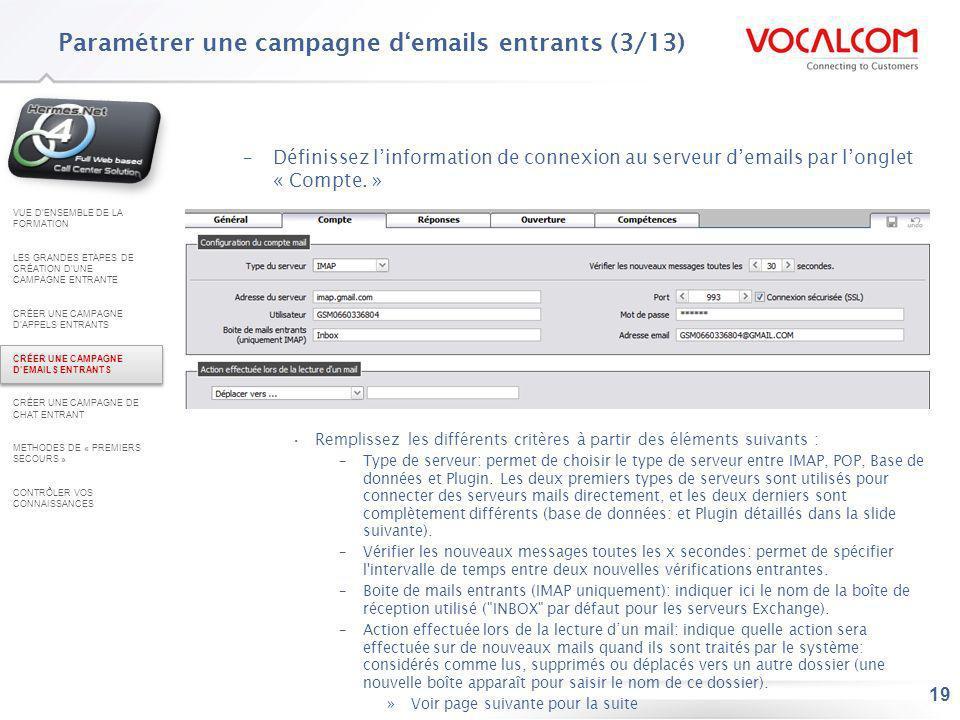 Paramétrer une campagne d'emails entrants (4/13)