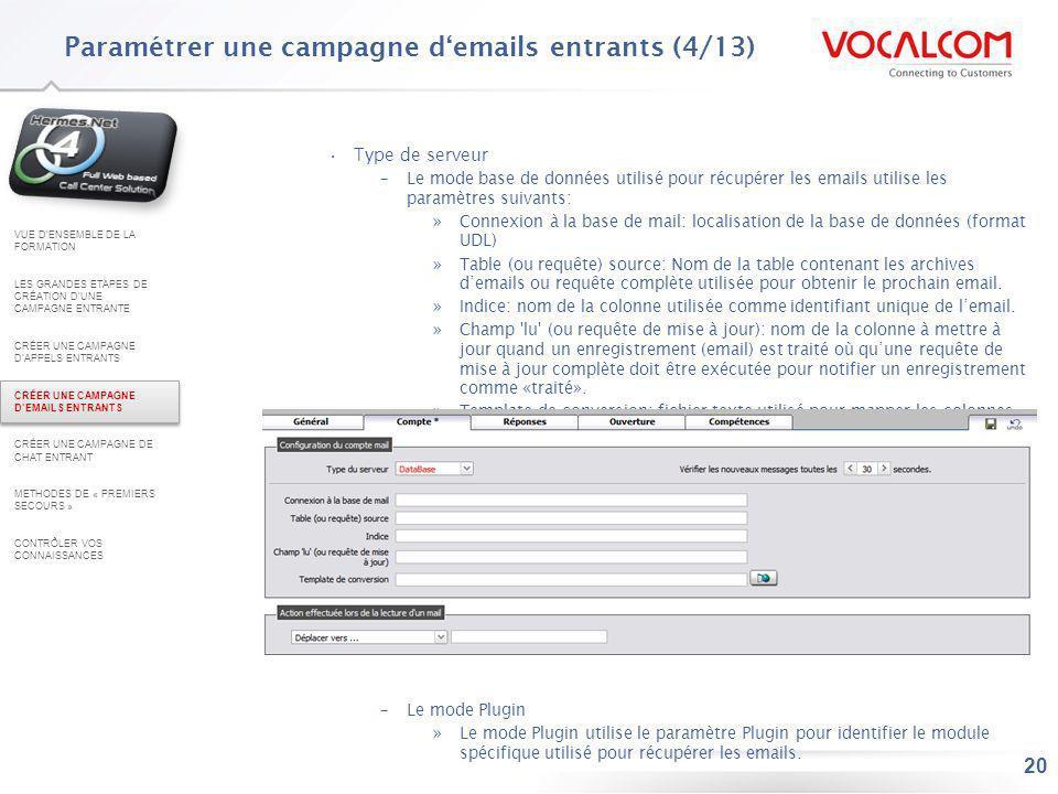 Paramétrer une campagne d'emails entrants (5/13)