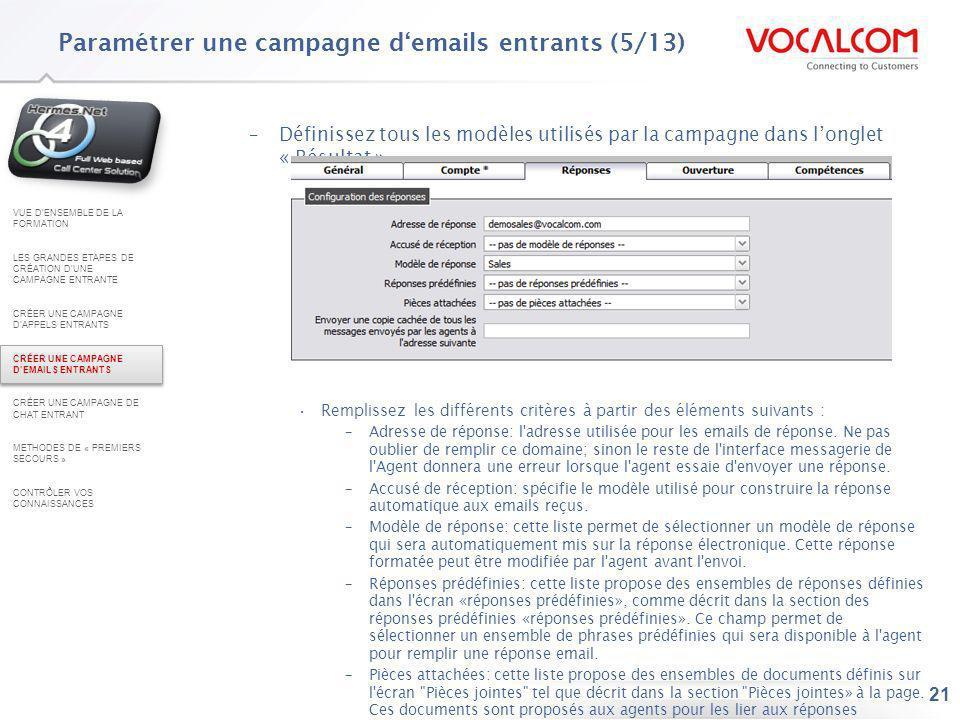Paramétrer une campagne d'emails entrants (6/13)