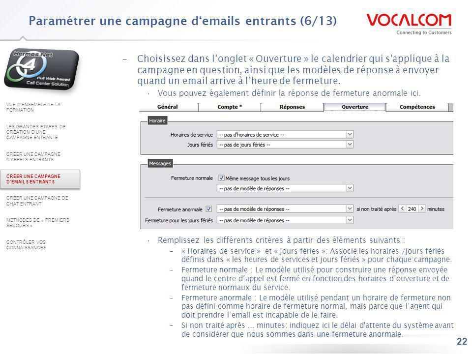 Paramétrer une campagne d'emails entrants (7/13)