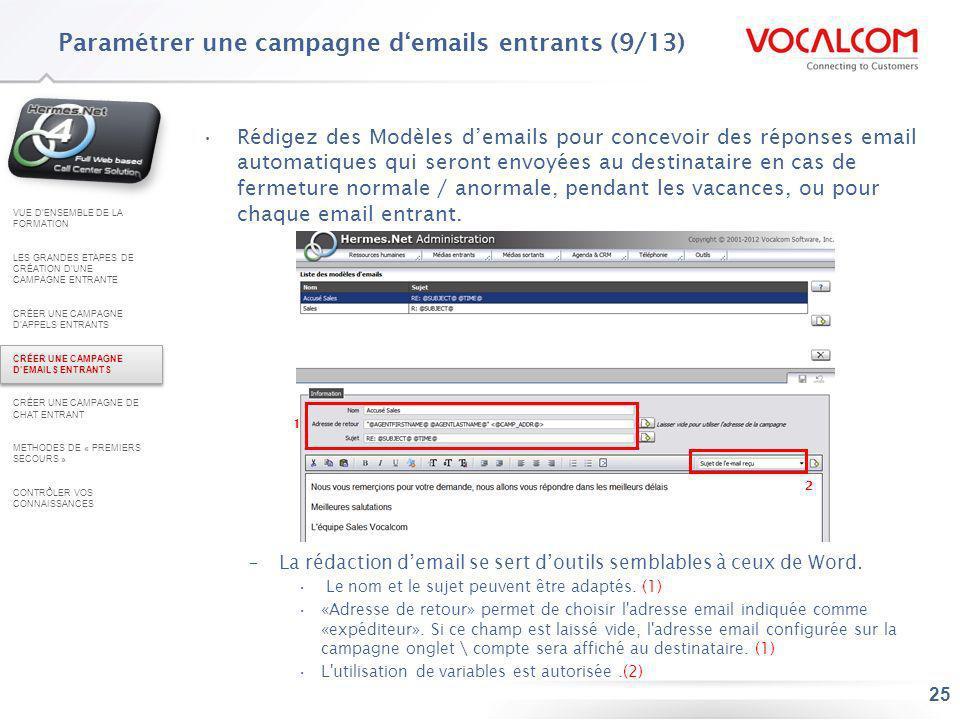 Paramétrer une campagne d'emails entrants (10/13)