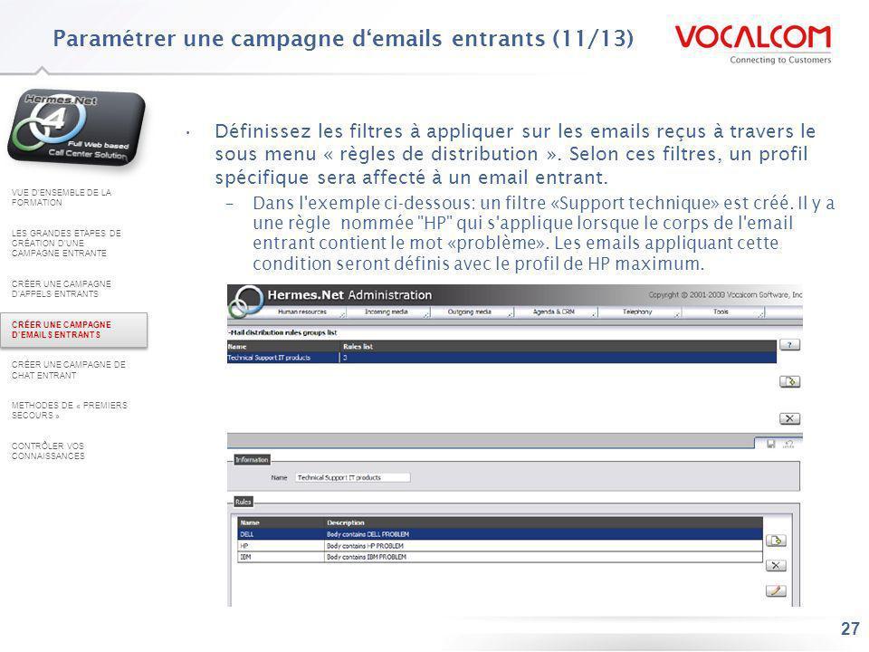 Paramétrer une campagne d'emails entrants (12/13)