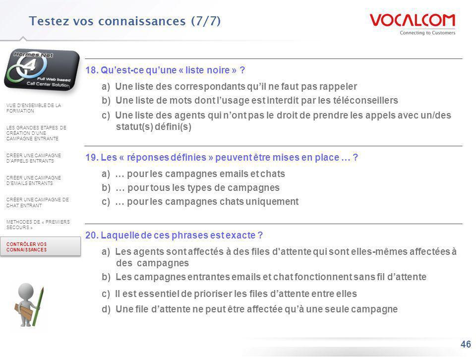 Réponses au QCM (1/3) VUE D'ENSEMBLE DE LA FORMATION